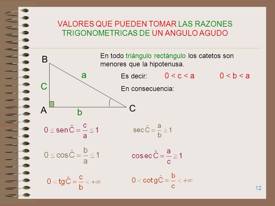 11 RAZONES TRIGONOMÉTRICAS (R.T.) DE UN ÁNGULO AGUDO Sea ABC un triángulo rectángulo en A. Se definen seis razones trigonométricas C A B a b c Cateto