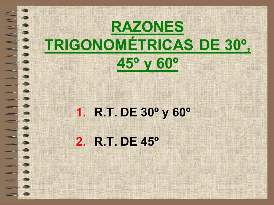 12 VALORES QUE PUEDEN TOMAR LAS RAZONES TRIGONOMETRICAS DE UN ANGULO AGUDO B C A a b C En todo triángulo rectángulo los catetos son menores que la hip