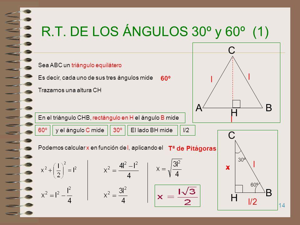 RAZONES TRIGONOMÉTRICAS DE 30º, 45º y 60º 1.R.T. DE 30º y 60º 2.R.T. DE 45º