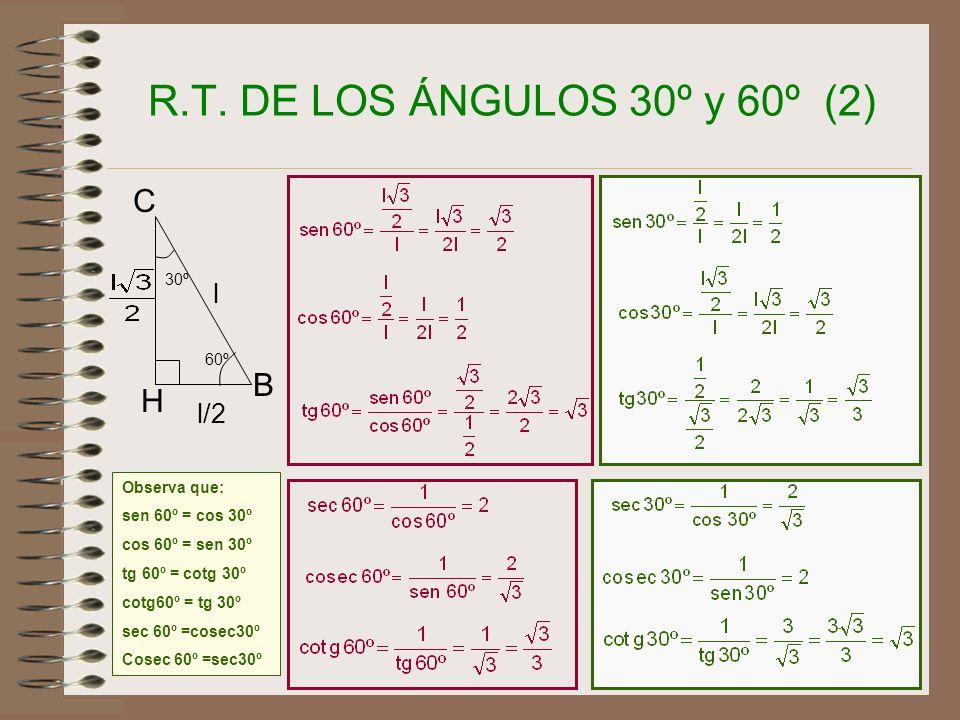 14 R.T. DE LOS ÁNGULOS 30º y 60º (1) AB C Sea ABC un triángulo equilátero H l l l l/2 x B C H l 60º 30º Es decir, cada uno de sus tres ángulos mide En