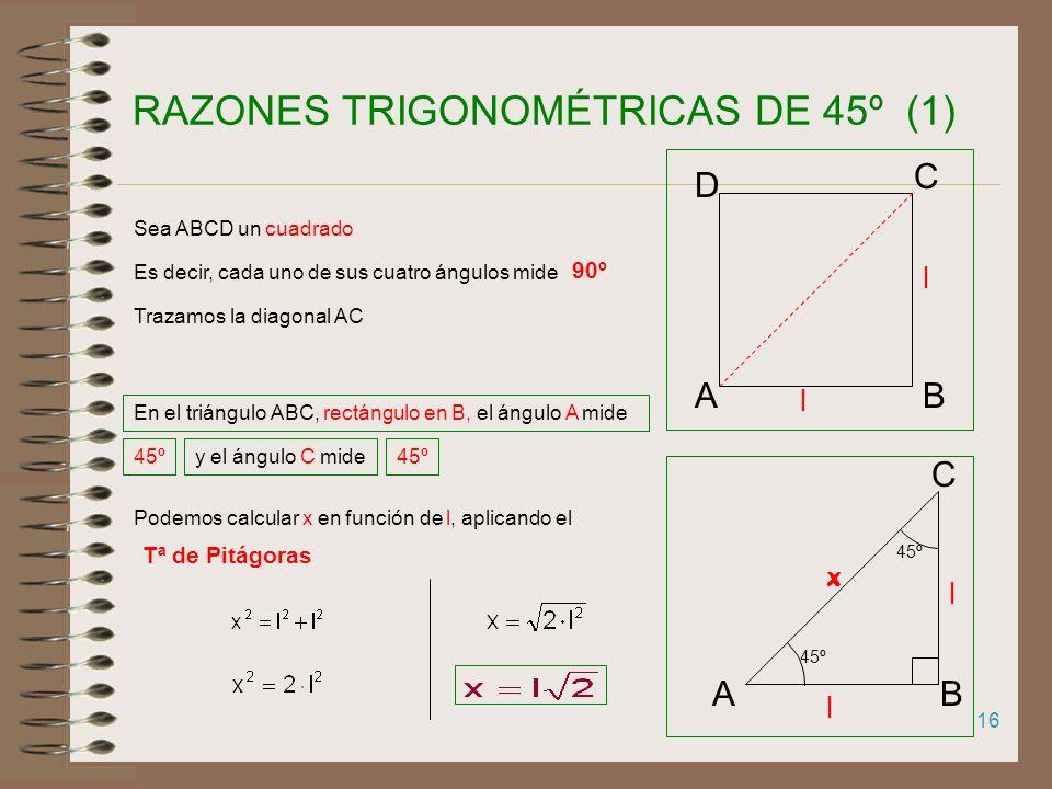 15 B C H l l/2 60º 30º R.T. DE LOS ÁNGULOS 30º y 60º (2) Observa que: sen 60º = cos 30º cos 60º = sen 30º tg 60º = cotg 30º cotg60º = tg 30º sec 60º =