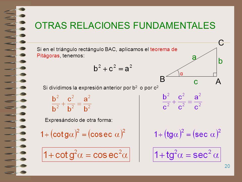 19 RELACIÓN FUNDAMENTAL DE TRIGONOMETRÍA α A B C b a c Si en el triángulo rectángulo BAC, aplicamos el teorema de Pitágoras, tenemos: Si dividimos la