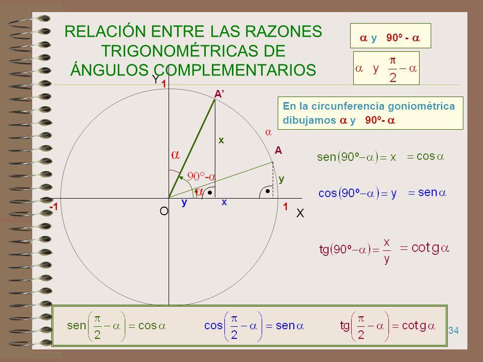 33 RAZONES TRIGONOMÉTRICAS DE UN ÁNGULO MAYOR DE UNA CIRCUNFERENCIA A 1 X Y O 1 Las razones trigonométricas de un ángulo mayor que una circunferencia