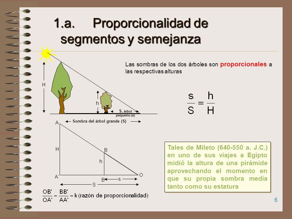 NOCIONES PREVIAS 1.a. Proporcionalidad de segmentos y semejanza b.TEOREMA DE TALES 2. TEOREMA DE PITÁGORAS