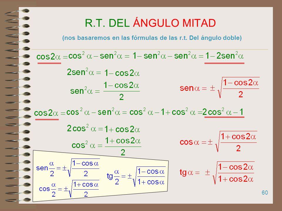59 R.T. DEL ÁNGULO DOBLE (nos basaremos en las fórmulas de las r.t. de la suma de dos ángulos)