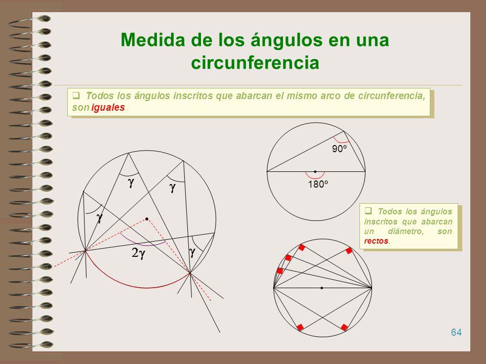 63 Medida de los ángulos en una circunferencia Los ángulos inscritos miden la mitad del ángulo central correspondiente Los ángulos inscritos miden la