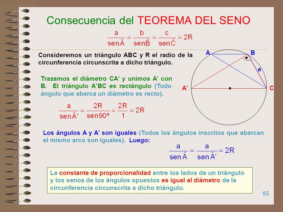 64 Todos los ángulos inscritos que abarcan el mismo arco de circunferencia, son iguales 180º 90º Todos los ángulos inscritos que abarcan un diámetro,