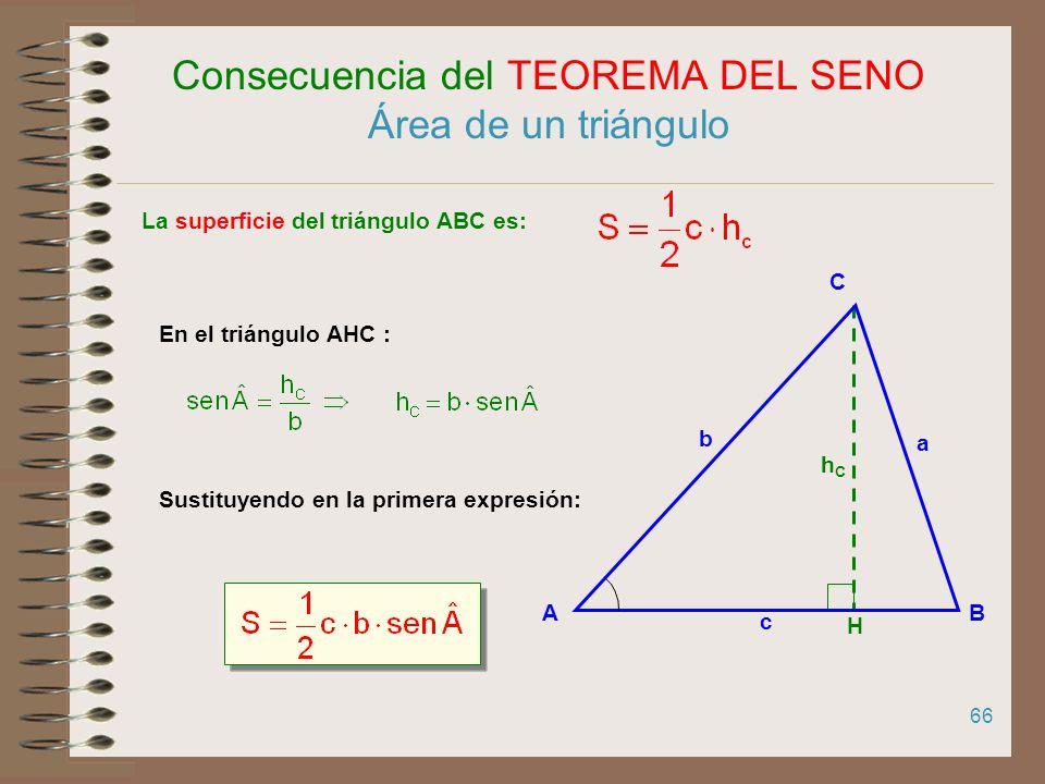 65 Consecuencia del TEOREMA DEL SENO La constante de proporcionalidad entre los lados de un triángulo y los senos de los ángulos opuestos es igual al