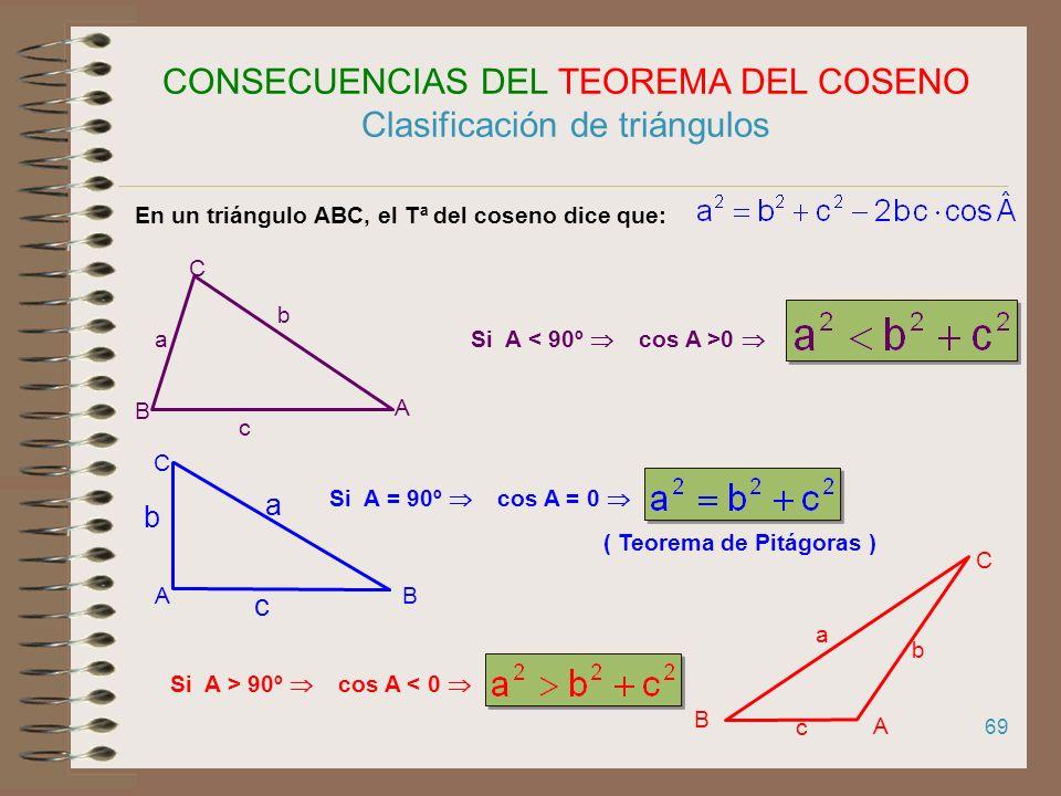 68 TEOREMA DEL COSENO h C BA a b c H mc-m Aplicando el Tª de Pitágoras en el triángulo BHC: (en AHC) (Como en AHC m = b. cos A) Análogamente (trazando