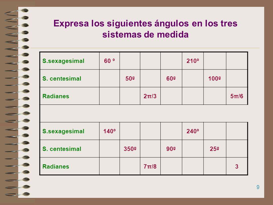 8 Medida de ángulos Los ángulos pueden medirse en tres sistemas: Sistema sexagesimal (En la calculadora MODE DEG) Sistema centesimal (En la calculador