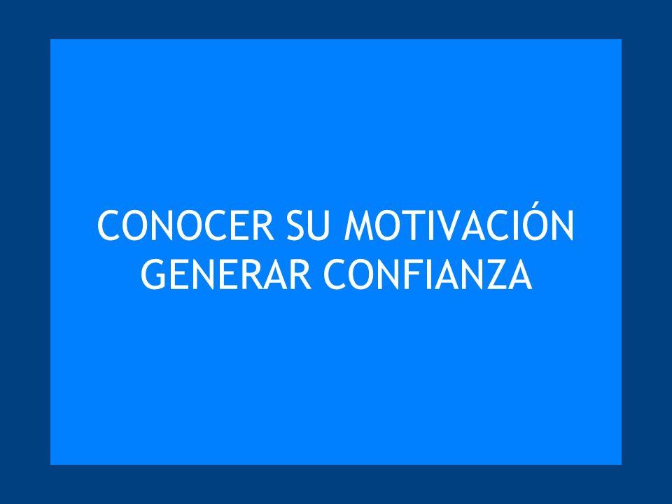 CONOCER SU MOTIVACIÓN GENERAR CONFIANZA