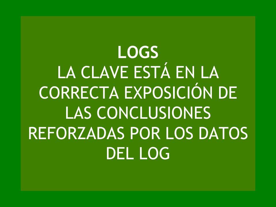 LOGS LA CLAVE ESTÁ EN LA CORRECTA EXPOSICIÓN DE LAS CONCLUSIONES REFORZADAS POR LOS DATOS DEL LOG