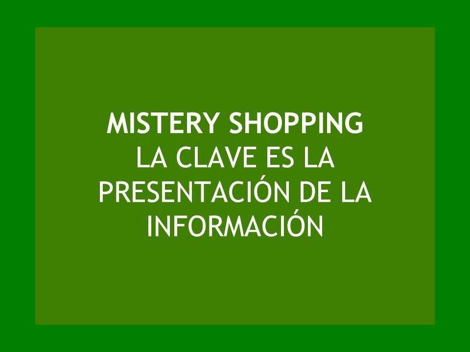 MISTERY SHOPPING LA CLAVE ES LA PRESENTACIÓN DE LA INFORMACIÓN