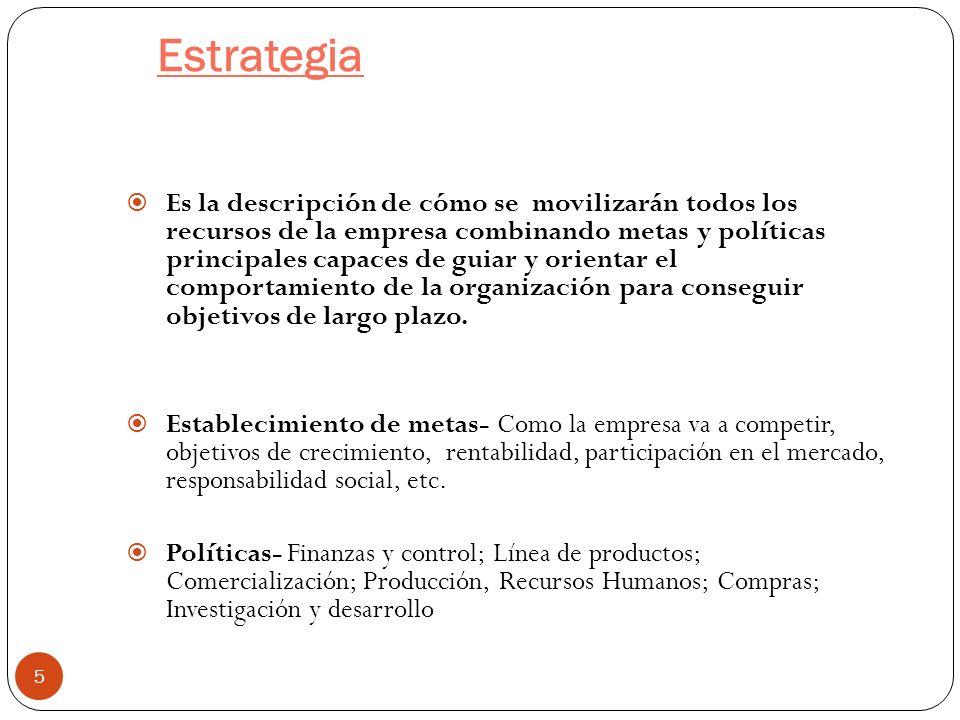 Estrategia 5 Es la descripción de cómo se movilizarán todos los recursos de la empresa combinando metas y políticas principales capaces de guiar y ori
