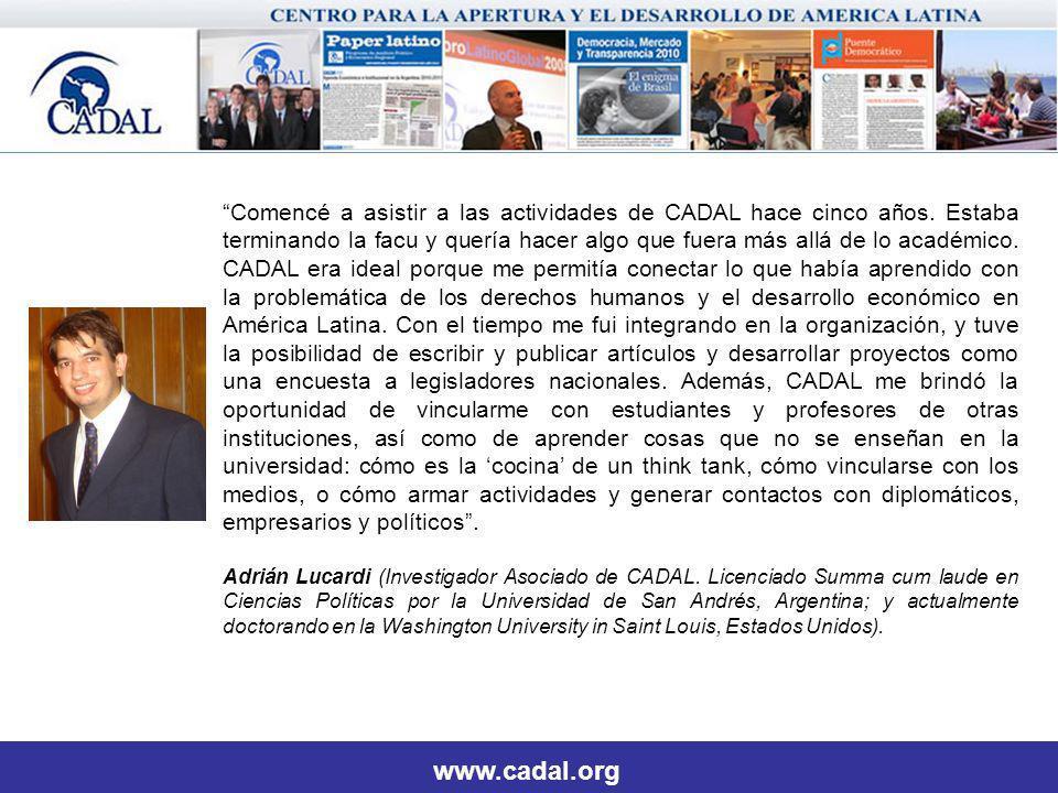 www.cadal.org Comencé a asistir a las actividades de CADAL hace cinco años.