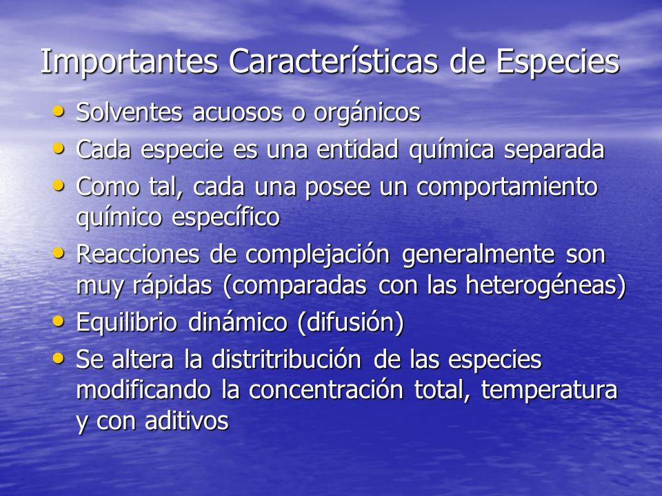 Importantes Características de Especies Solventes acuosos o orgánicos Solventes acuosos o orgánicos Cada especie es una entidad química separada Cada