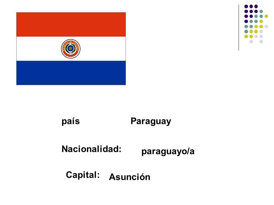 paísParaguay Nacionalidad: paraguayo/a Capital: Asunción