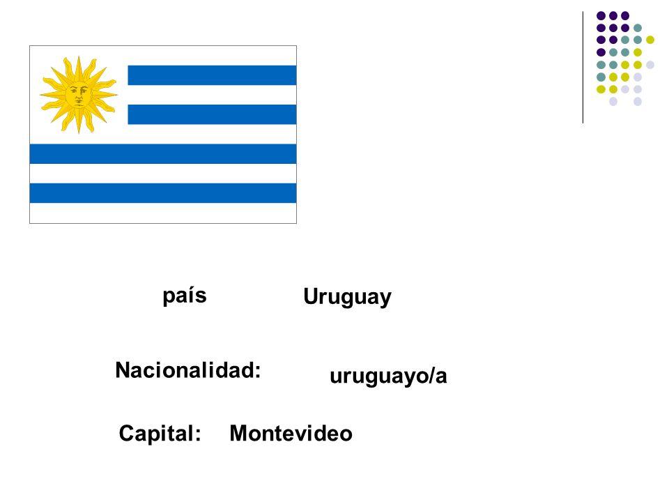 país Uruguay Nacionalidad: uruguayo/a Capital:Montevideo