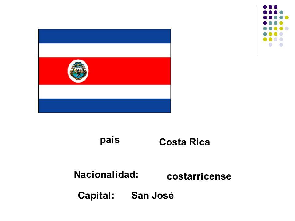 país Costa Rica Nacionalidad: costarricense Capital:San José