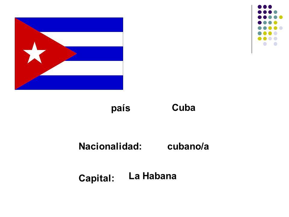 país Cuba Nacionalidad:cubano/a Capital: La Habana