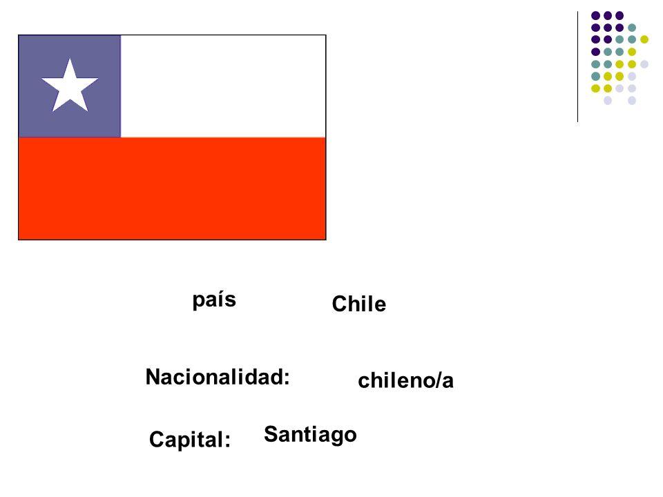 país Chile Nacionalidad: chileno/a Capital: Santiago