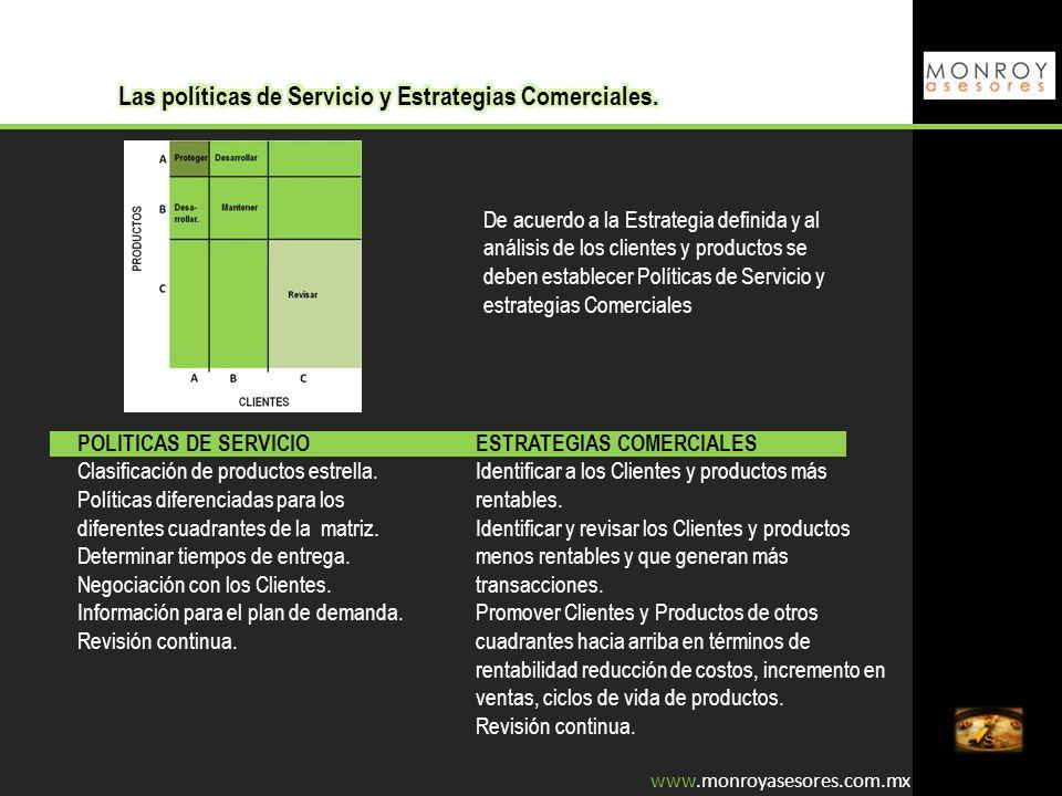 De acuerdo a la Estrategia definida y al análisis de los clientes y productos se deben establecer Políticas de Servicio y estrategias Comerciales POLI