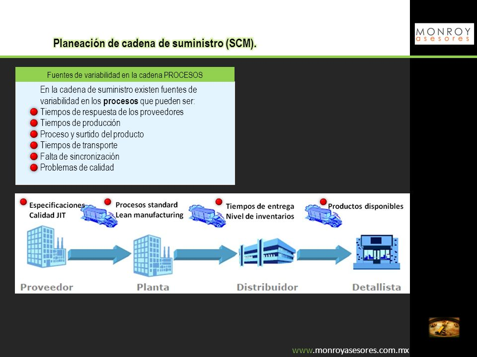 Fuentes de variabilidad en la cadena PROCESOS En la cadena de suministro existen fuentes de variabilidad en los procesos que pueden ser: Tiempos de re