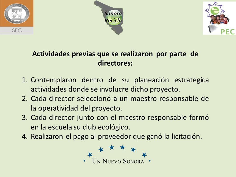 Sonora Recicla Actividades previas que se realizaron por parte de directores: 1.Contemplaron dentro de su planeación estratégica actividades donde se