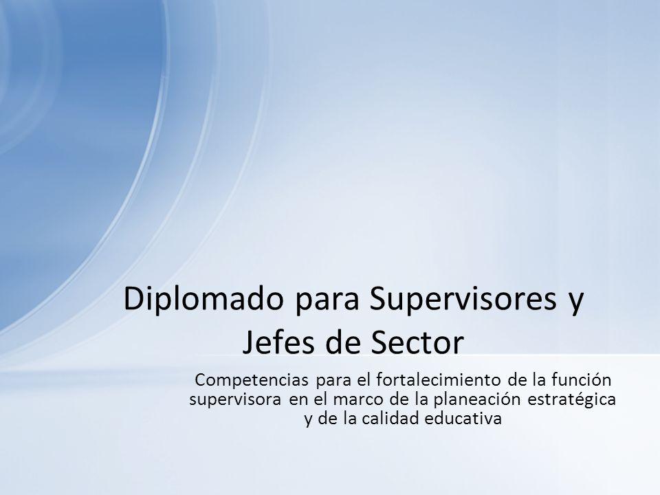 Competencias para el fortalecimiento de la función supervisora en el marco de la planeación estratégica y de la calidad educativa Diplomado para Super
