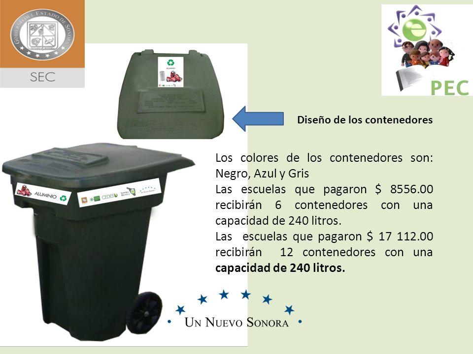 Diseño de los contenedores Los colores de los contenedores son: Negro, Azul y Gris Las escuelas que pagaron $ 8556.00 recibirán 6 contenedores con una