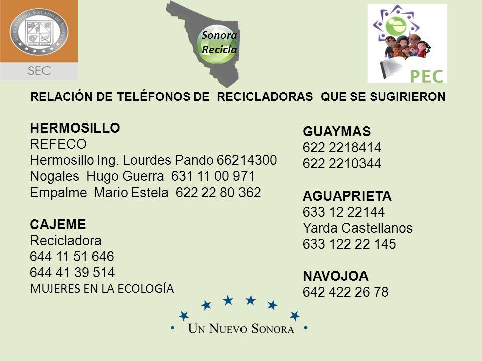 Sonora Recicla RELACIÓN DE TELÉFONOS DE RECICLADORAS QUE SE SUGIRIERON HERMOSILLO REFECO Hermosillo Ing. Lourdes Pando 66214300 Nogales Hugo Guerra 63