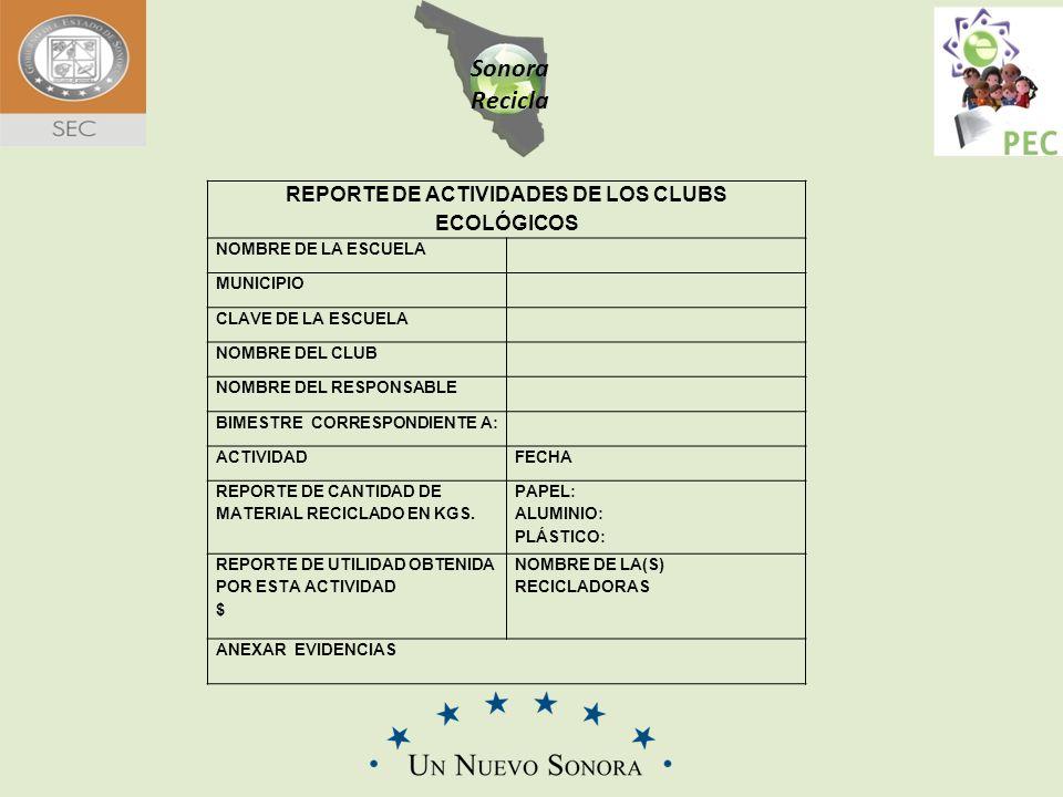 Sonora Recicla REPORTE DE ACTIVIDADES DE LOS CLUBS ECOLÓGICOS NOMBRE DE LA ESCUELA MUNICIPIO CLAVE DE LA ESCUELA NOMBRE DEL CLUB NOMBRE DEL RESPONSABL
