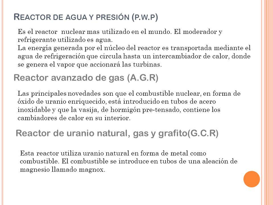 R EACTOR DE AGUA Y PRESIÓN ( P.W. P ) Es el reactor nuclear mas utilizado en el mundo.