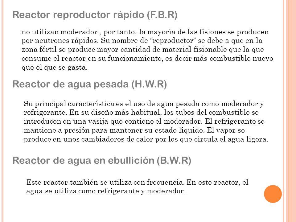 Reactor reproductor rápido (F.B.R) no utilizan moderador, por tanto, la mayoría de las fisiones se producen por neutrones rápidos.