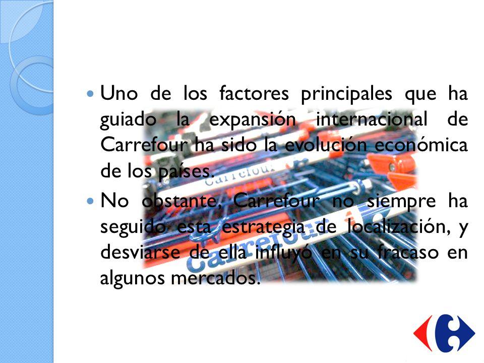 Uno de los factores principales que ha guiado la expansión internacional de Carrefour ha sido la evolución económica de los países. No obstante, Carre