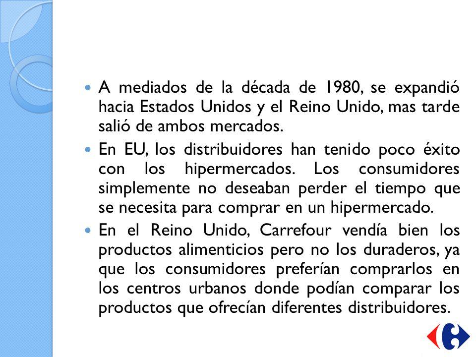 A mediados de la década de 1980, se expandió hacia Estados Unidos y el Reino Unido, mas tarde salió de ambos mercados. En EU, los distribuidores han t