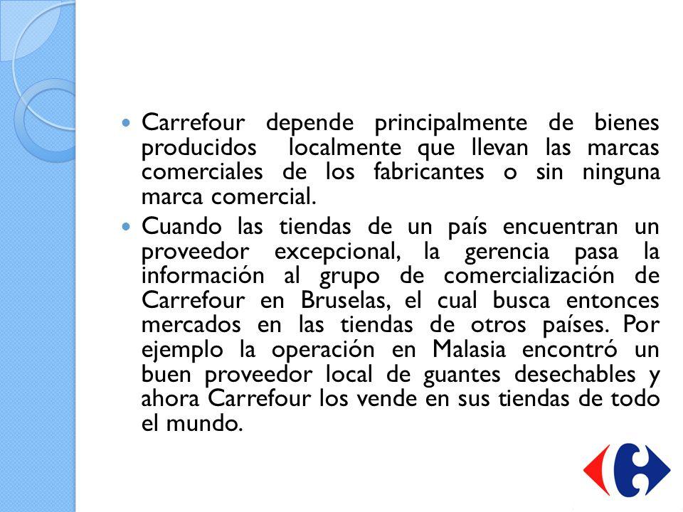 Carrefour depende principalmente de bienes producidos localmente que llevan las marcas comerciales de los fabricantes o sin ninguna marca comercial. C