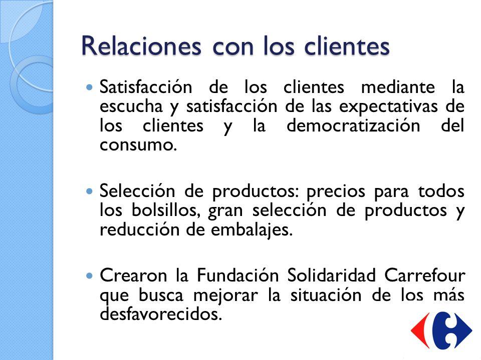 Relaciones con los clientes Satisfacción de los clientes mediante la escucha y satisfacción de las expectativas de los clientes y la democratización d