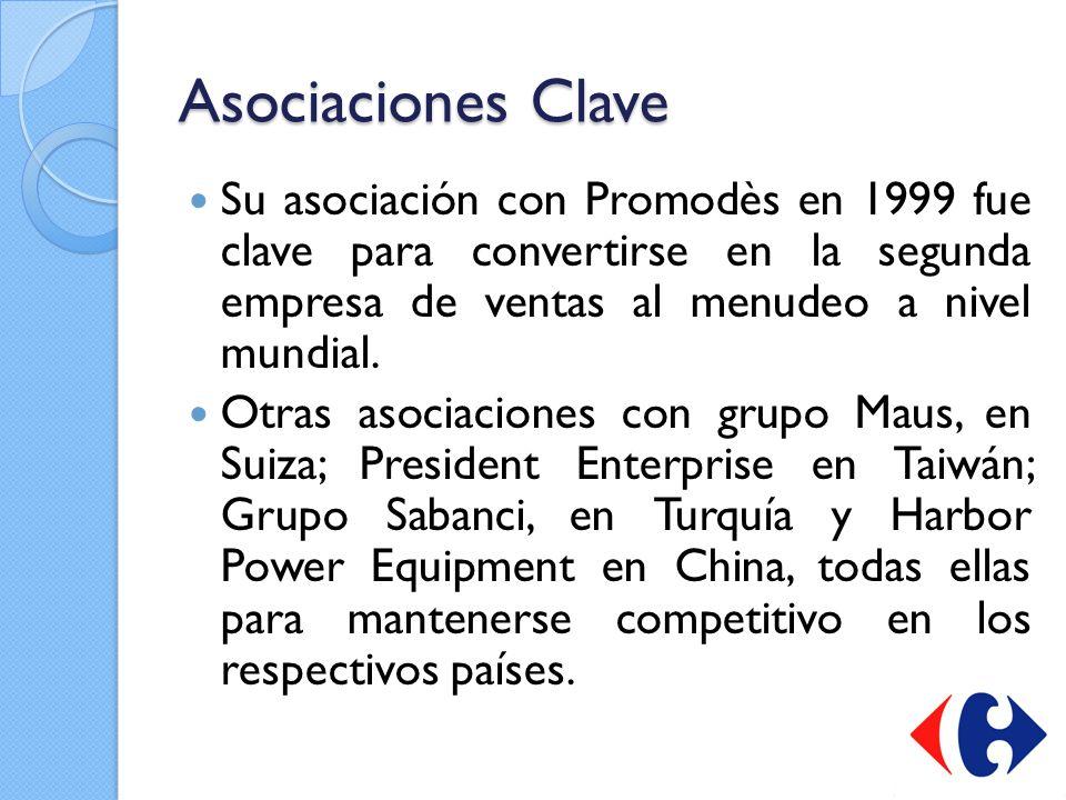 Asociaciones Clave Su asociación con Promodès en 1999 fue clave para convertirse en la segunda empresa de ventas al menudeo a nivel mundial. Otras aso