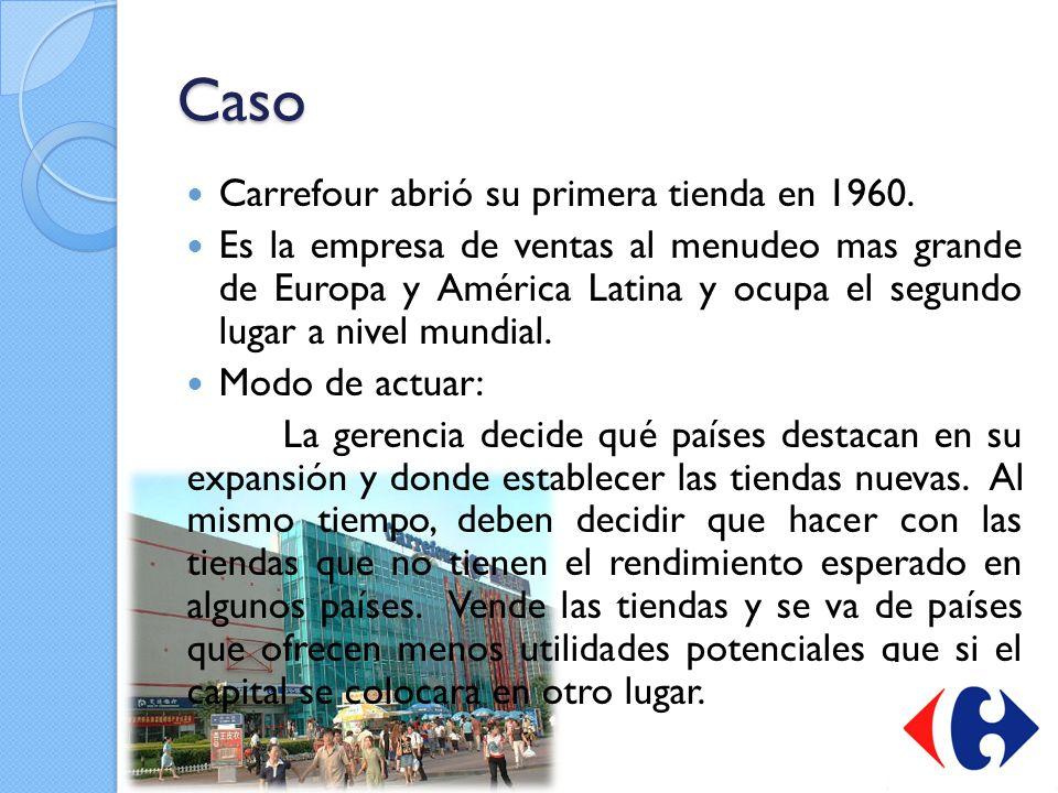 Caso Carrefour abrió su primera tienda en 1960. Es la empresa de ventas al menudeo mas grande de Europa y América Latina y ocupa el segundo lugar a ni
