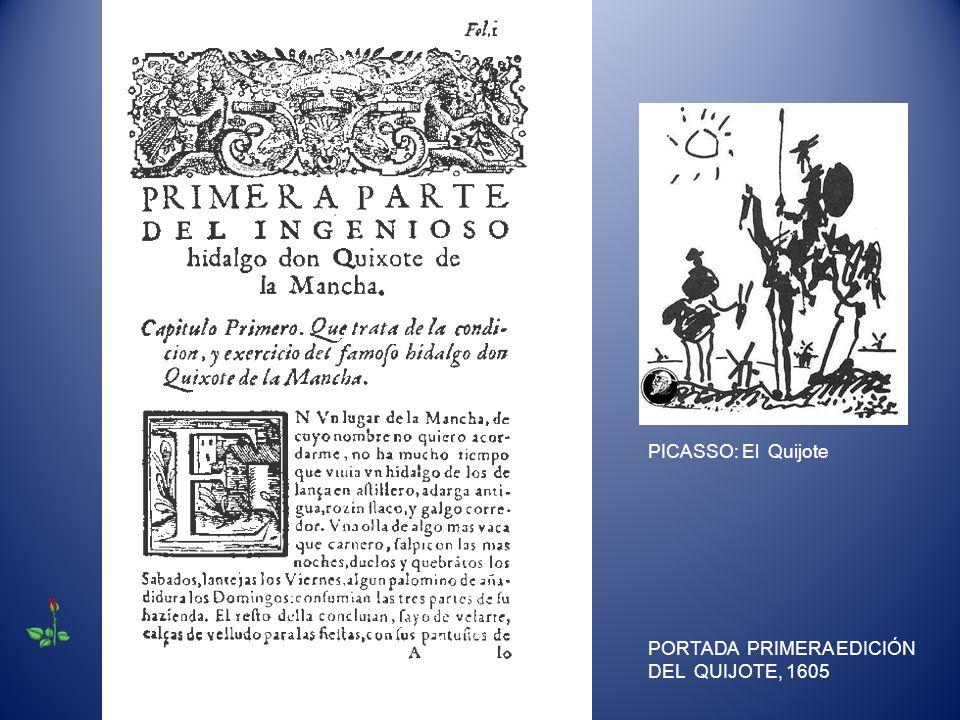 PORTADA PRIMERA EDICIÓN DEL QUIJOTE, 1605 PICASSO: El Quijote