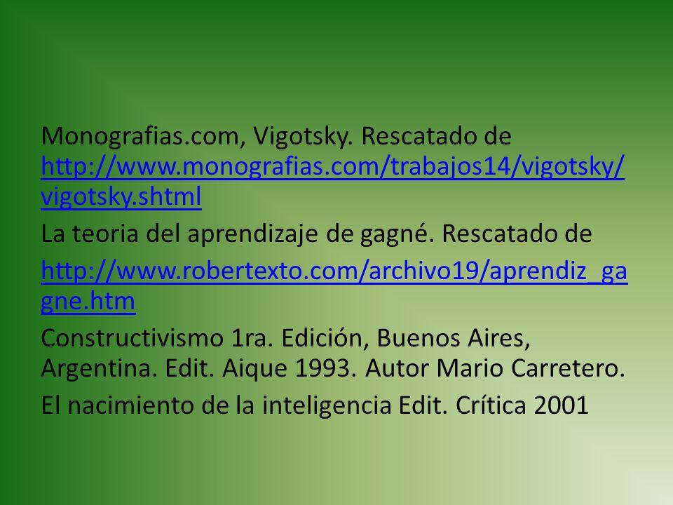 Monografias.com, Vigotsky. Rescatado de http://www.monografias.com/trabajos14/vigotsky/ vigotsky.shtml http://www.monografias.com/trabajos14/vigotsky/