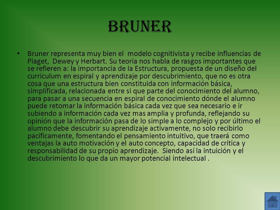 BRUNER Bruner representa muy bien el modelo cognitivista y recibe influencias de Piaget, Dewey y Herbart. Su teoría nos habla de rasgos importantes qu