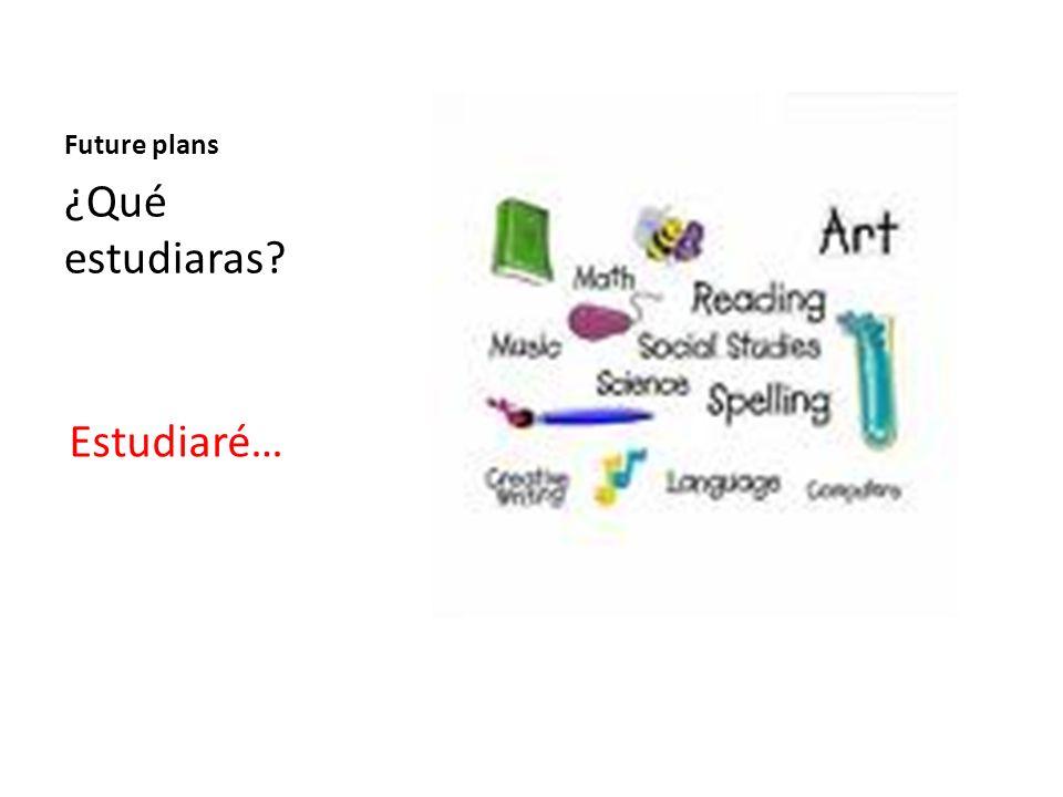 Future plans ¿Qué estudiaras? Estudiaré…