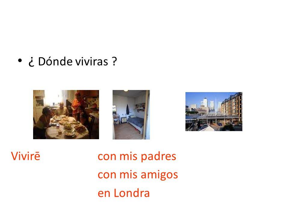 ¿ Dónde viviras ? Vivirē con mis padres con mis amigos en Londra