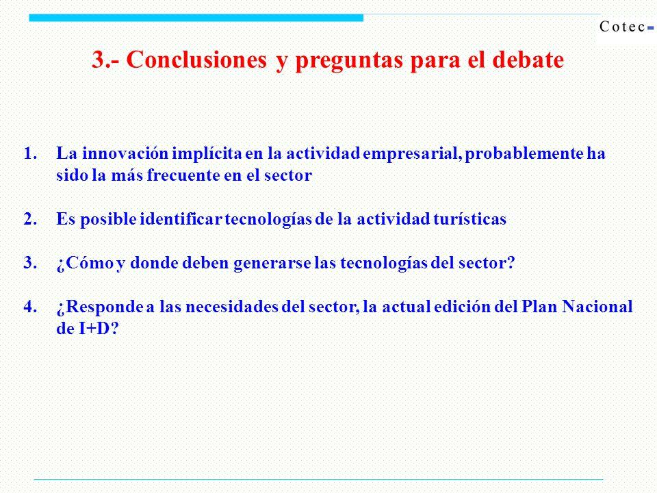 3.- Conclusiones y preguntas para el debate 1.La innovación implícita en la actividad empresarial, probablemente ha sido la más frecuente en el sector