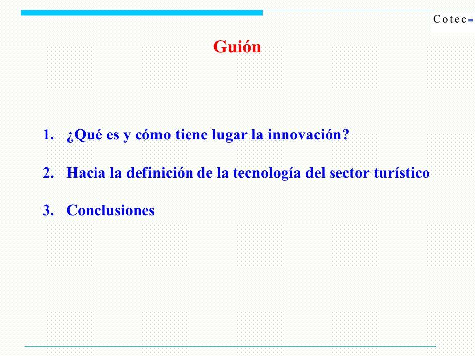 1.¿Qué es y cómo tiene lugar la innovación? 2.Hacia la definición de la tecnología del sector turístico 3.Conclusiones Guión