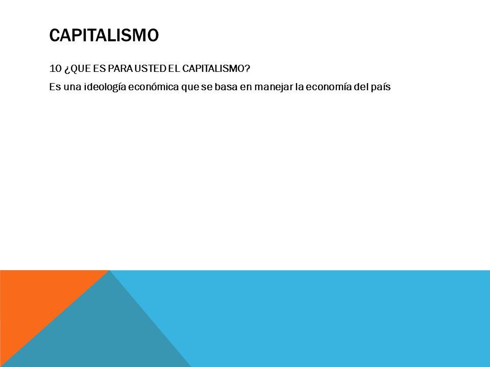 CAPITALISMO 10 ¿QUE ES PARA USTED EL CAPITALISMO? Es una ideología económica que se basa en manejar la economía del país