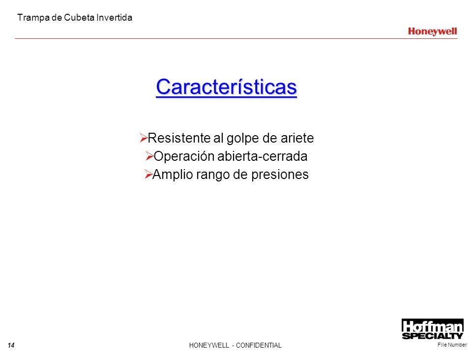 14HONEYWELL - CONFIDENTIAL File Number Características Resistente al golpe de ariete Operación abierta-cerrada Amplio rango de presiones Trampa de Cub