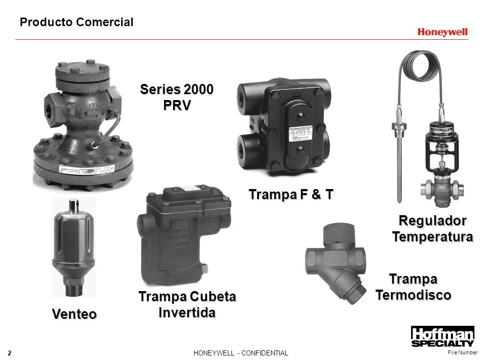 2HONEYWELL - CONFIDENTIAL File Number Series 2000 PRV Trampa F & T Regulador Temperatura Venteo Trampa Cubeta Invertida Trampa Termodisco Producto Com